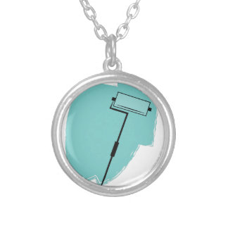 Paint Roller Round Pendant Necklace