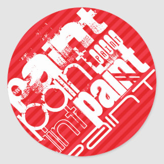 Paint; Scarlet Red Stripes Round Sticker