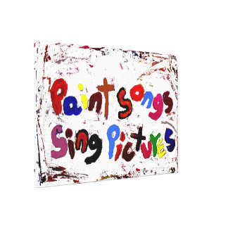 paint songs sing pictures wall decor stretched canvas print