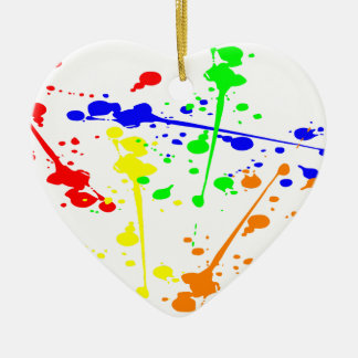 Paint splash abstract art colourful ceramic heart decoration