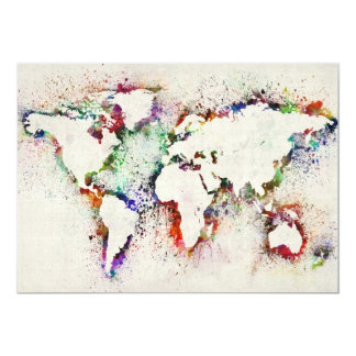 Paint Splashes Text Map of the World 13 Cm X 18 Cm Invitation Card