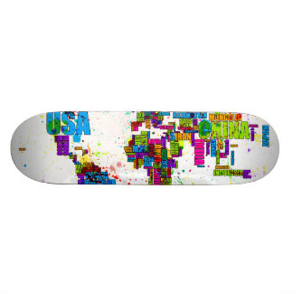 Paint Splashes Text Map of the World 21.6 Cm Old School Skateboard Deck