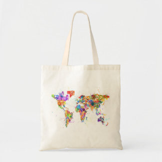 Paint Splashes Text Map of the World Budget Tote Bag