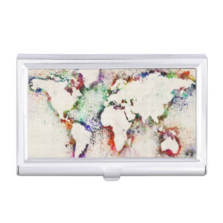 Paint Splashes Text Map of the World Business Card Holder