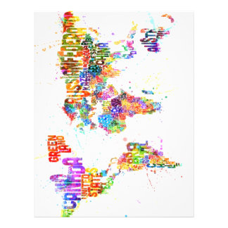 Paint Splashes Text Map of the World Full Color Flyer