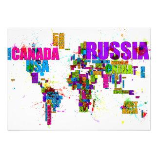 Paint Splashes Text Map of the World Custom Invitation
