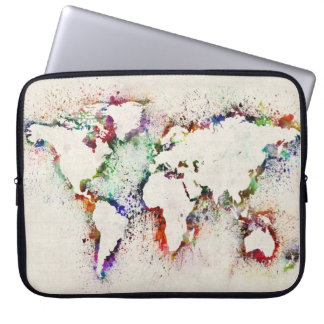 Paint Splashes Text Map of the World Laptop Sleeve