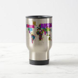 Paint Splashes Text Map of the World Mug
