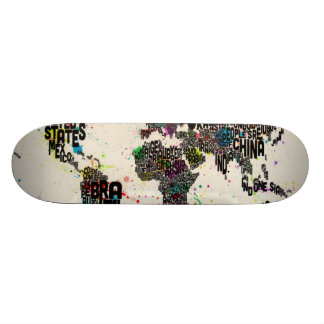 Paint Splashes Text Map of the World Skateboard