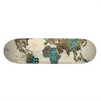 Paint Splashes Text Map of the World Custom Skate Board