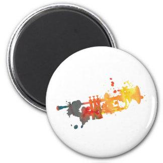 Paint Splat Trumpet 6 Cm Round Magnet