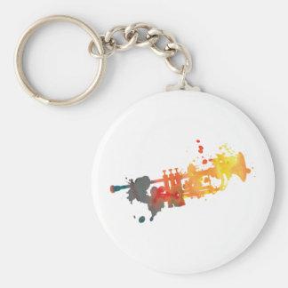 Paint Splat Trumpet Basic Round Button Key Ring