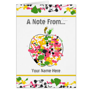 Paint Splatter Apple Teacher Notecard Cards
