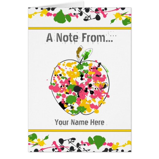 Paint Splatter Apple Teacher Notecard