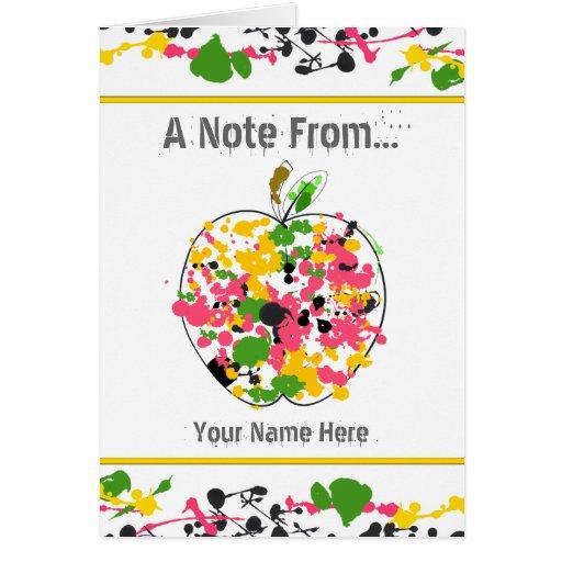 Paint Splatter Apple Teacher Notecard Note Card