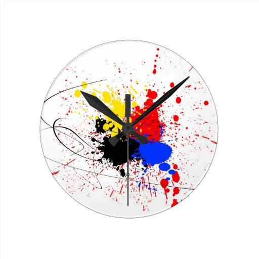 Paint Splatter Art Black Blue Red Yellow Round Wall Clocks