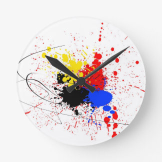 Paint Splatter Art Black Blue Red Yellow Round Clock