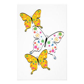 Paint Splatter Butterflies Custom Stationery
