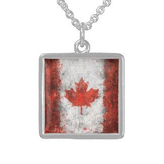 Paint Splatter Canadian Flag Square Pendant Necklace
