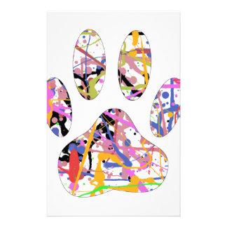 Paint Splatter Dog Paw Print Customized Stationery