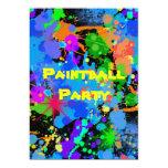 Paint Splatter, Faux Neon, Birthday Invitation