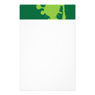 Paint Splatter green Personalized Stationery
