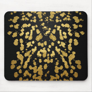 Paint Splatter in Faux Gold and Black Mouse Pad