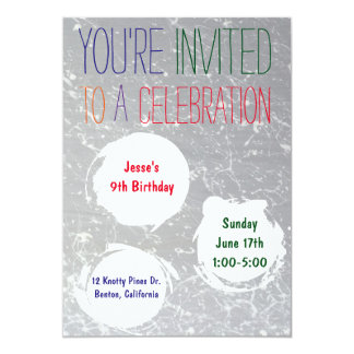 Paint Splatter Invite   Colorful Kids Party