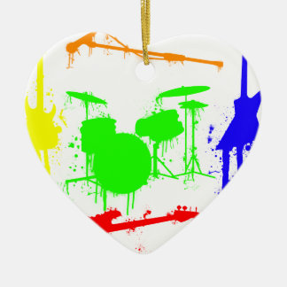 Paint Splatter Musical instruments Band Graffiti Ceramic Heart Decoration