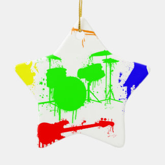 Paint Splatter Musical instruments Band Graffiti Ceramic Star Decoration