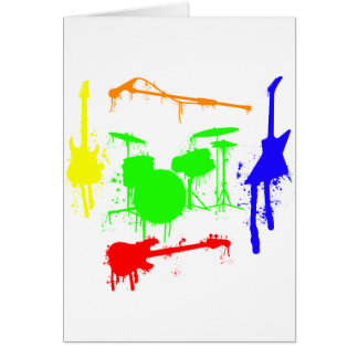 Paint Splatter Musical instruments Band Graffiti Greeting Card