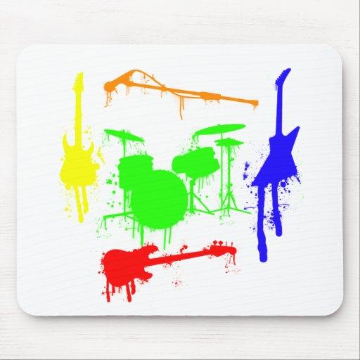 Paint Splatter Musical instruments Band Graffiti Mousepads