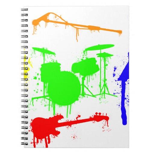 Paint Splatter Musical instruments Band Graffiti Spiral Note Books