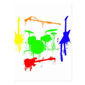 Paint Splatter Musical instruments Band Graffiti Postcard