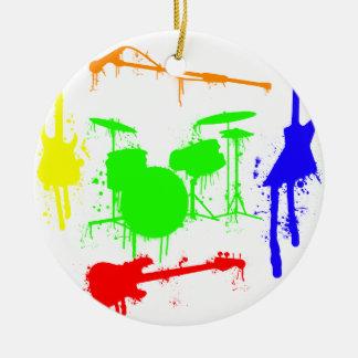 Paint Splatter Musical instruments Band Graffiti Round Ceramic Decoration