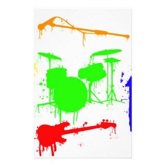 Paint Splatter Musical instruments Band Graffiti Personalized Stationery