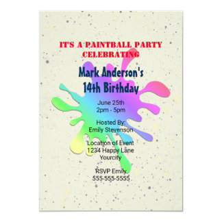 Paint Splatter Paintball Birthday Card