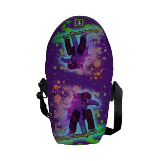 Paint splatter rainbow snowboarder bag courier bag