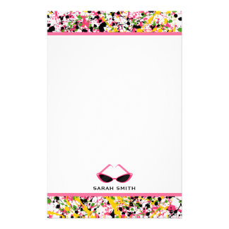 Paint Splatter Retro Pink Sunglasses Customized Stationery
