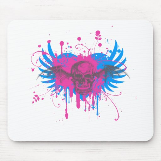 Paint Splatter Skull Graphic Mouse Pads