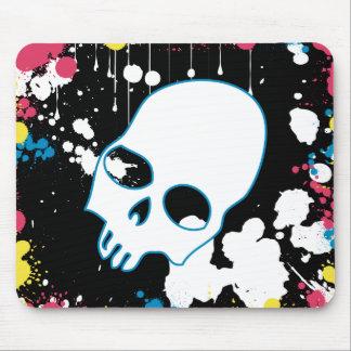 Paint Splatter Skull Mouse Pad