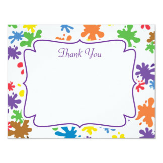 Paint Splatter Thank You Card 11 Cm X 14 Cm Invitation Card