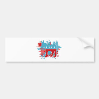 Paint Splatters Democrat Donkey Bumper Sticker