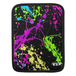 Paint Splatters with Black Backgroun Monogram Case iPad Sleeves