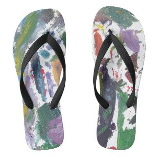 Paint Splotched Flip Flops