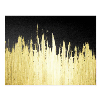 Paint Strokes in Faux Gold on Black Postcard