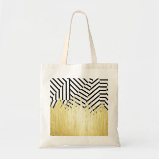 Paint Strokes in Faux Gold on Black & White Stripe Budget Tote Bag