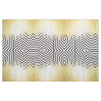 Paint Strokes in Faux Gold on Black & White Stripe Fabric