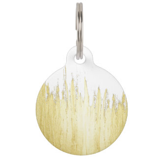 Paint Strokes in Faux Gold Pet Tag