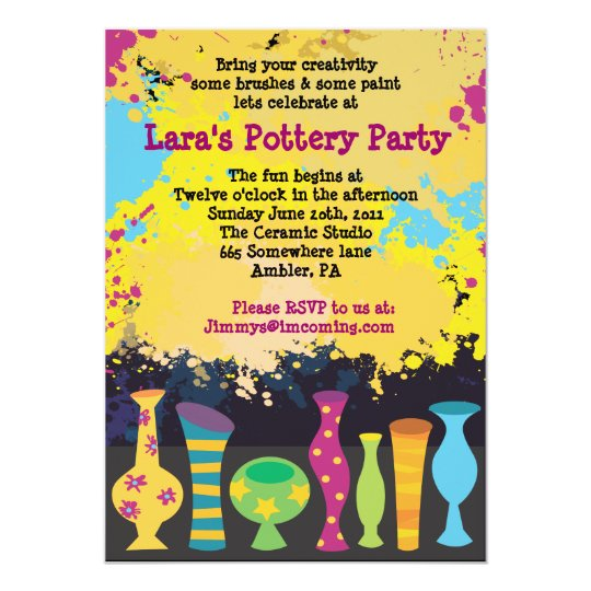 PAINT YOUR OWN POTTERY Birthday Party Invitation